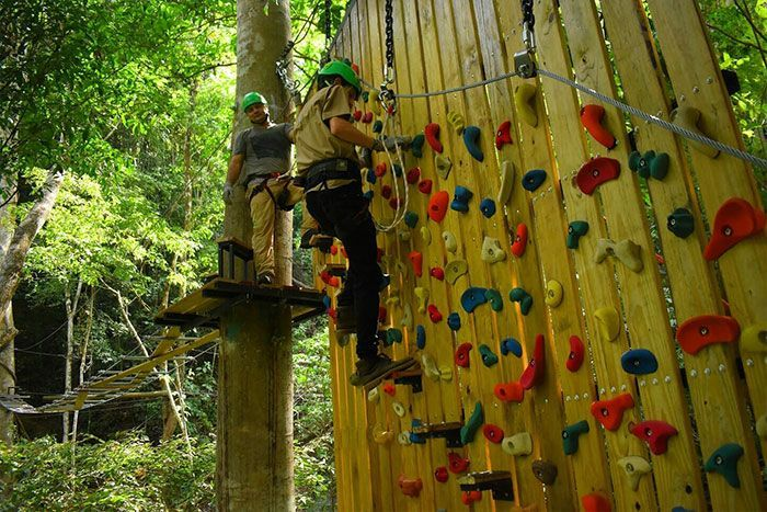 Descent wall with climbing holds