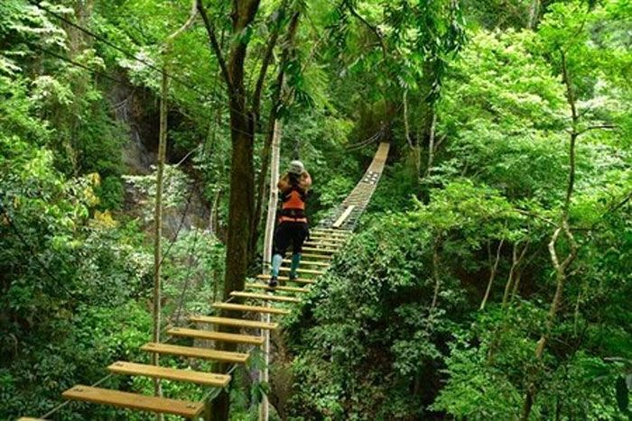 Hanging Sky bridge Jaco beach in Costa Rica