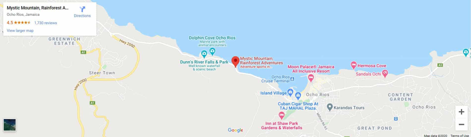 Mystic Mountain Jamaica Google Maps location screenshot